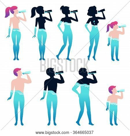 Water Balance. Cartoon People Drinking Water Into Body On White Background. Isolated Human Water Bal