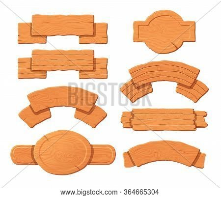 Wooden Sign. Old Wooden Board And Blank Signpost Vector Set. Cartoon Wooden Sign For Message Post An