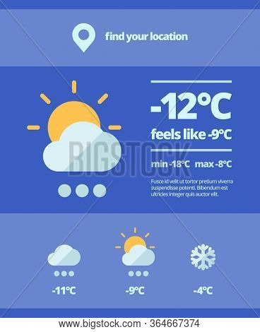Weather Web Forecast. Mobile Meteorology Widget Snowfall Cooling Sunny Day Temperature Surges Nature