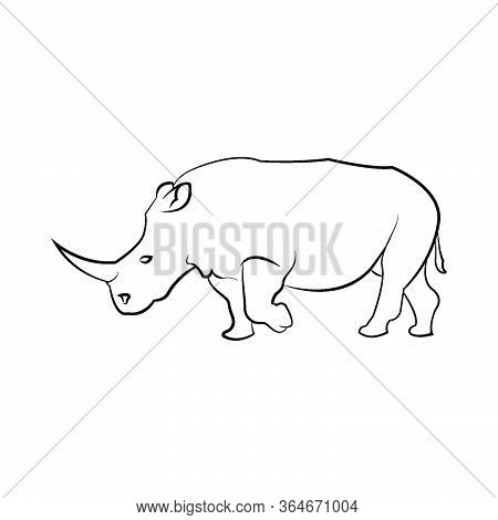 Rhinoceros Rhino One Horned, Mammal Horn, Big Endangered, Park, Wilderness, Strong Animal Line Art A