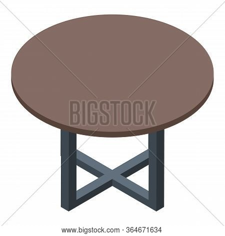 Folding Round Table Icon. Isometric Of Folding Round Table Vector Icon For Web Design Isolated On Wh