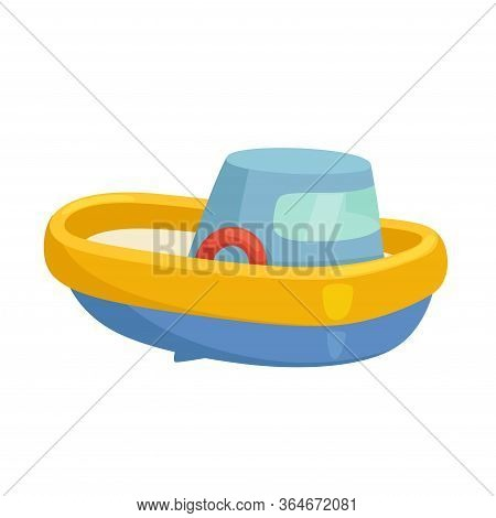Childrens Toy Boat. A Small Plastic Ship