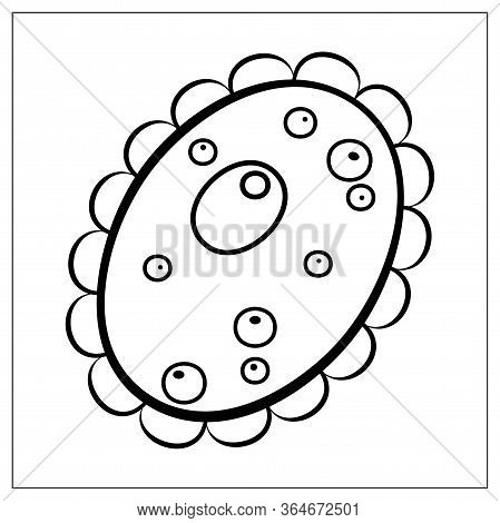 Vector Illustration With Outlines Of Bacteria, Virus, Cells, Germs Or Epidemic Bacillus. For Web, Lo