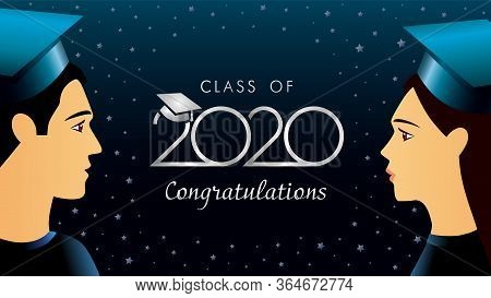 Class Of 2020 Congratulations, Students In Academic Hat. Lettering Template Background For Graduatio