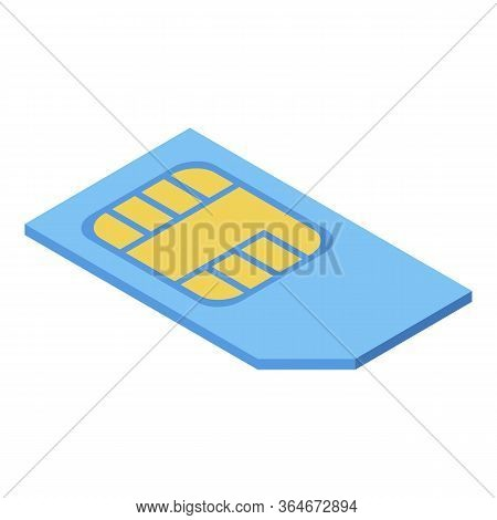 Cellphone Sim Card Icon. Isometric Of Cellphone Sim Card Vector Icon For Web Design Isolated On Whit