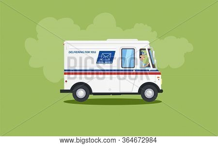 White Flat Cartoon Post Or Delivery Van Vehicle With Driver Or Courier On Green Background. Express