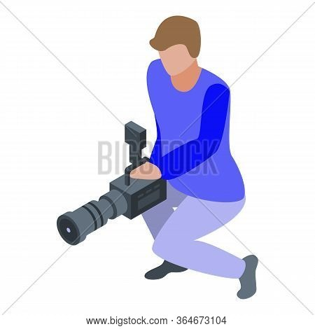 Professional Cameraman Icon. Isometric Of Professional Cameraman Vector Icon For Web Design Isolated