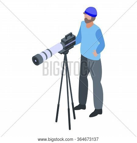 Sport Cameraman Icon. Isometric Of Sport Cameraman Vector Icon For Web Design Isolated On White Back