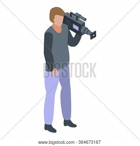 Cameraman Shoot Icon. Isometric Of Cameraman Shoot Vector Icon For Web Design Isolated On White Back