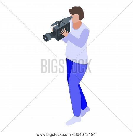 Television Cameraman Icon. Isometric Of Television Cameraman Vector Icon For Web Design Isolated On