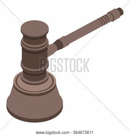 Judgment Gavel Icon. Isometric Of Judgment Gavel Vector Icon For Web Design Isolated On White Backgr