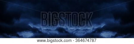 Dark Cloudy Sky Before Thunderstorm Wide Background. Hurricane Heaven Long Pattern. Abstract Gloomy