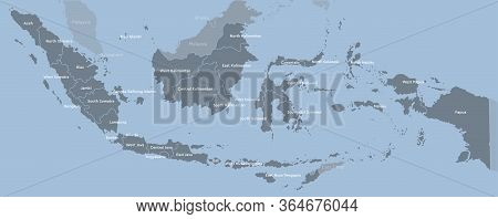 Indonesia Map, Asia Country Map Vector Template