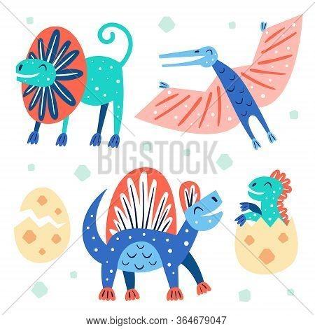Set Of Little Cute Dinosaurs. Dilophosaurus, Pterodactyl.  Prehistoric Animals. Jurassic World. Pale