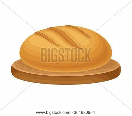 Hot Baked Aromatic Bread With Crispy Crust Rested On Wooden Cutting Board Vector Illustration