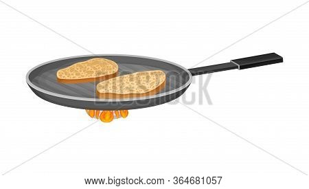 Bread Slices On Frying Pan As Toast For Bruschetta Preparation Vector Illustration