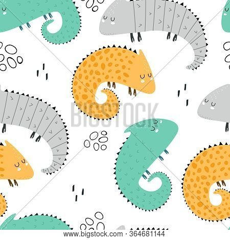 Seamless Pattern With Cartoon Iguanas, Decor Elements. Colorful Vector For Kids. Animals. Hand Drawi