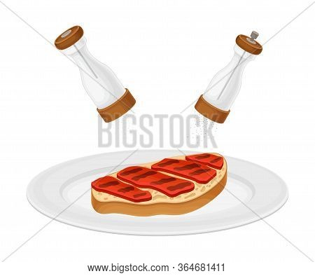 Dressing Of Roasted Toast Bread Slice With Meat Rested On Plate As Bruschetta Preparation Vector Ill