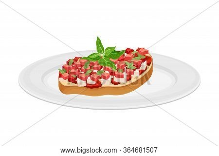 Bruschetta With Tomato And Cheese Garnished With Kitchen Herb Vector Illustration
