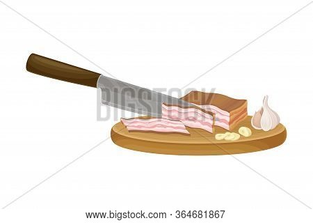 Knife Slicing Bacon Slab On Cutting Board As Ingredient For Cooking Pasta Carbonara Vector Illustrat