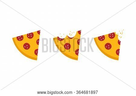 Vector Cartoon Style Pepperoni Pizza Slices With Bite Marks Set, Collection.