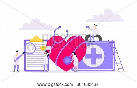 Cardiologist With Doctors Team Researches Human Heart Hospital Healthcare Medical Concept Flat Style