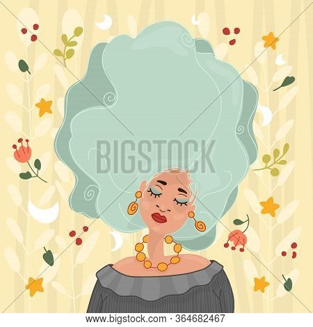 Hand-drawn Young Beautiful Girl With Makeup And Unusual Blue Hair. Fashion Illustration Of A Stylish