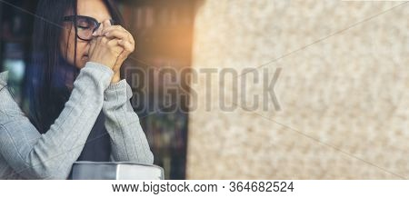 Pray Concept.asian Woman Praying,hope For Peace And Free From Coronavirus,hand In Hand Together By F