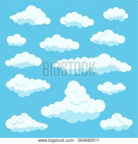 Clouds White Color Icon Set Isolated On Blue Heaven Background. Cartoon Cute Fluffy Clouds Collectio