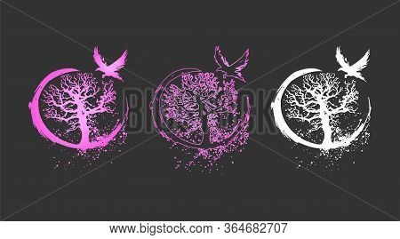 Beautiful Vector Illustration Of A Tree Of Life And A Raven - Flat Neon Design. Vector Collection Of