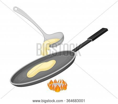 Batter Pouring On Frying Pan For Pancake Cooking Vector Illustration