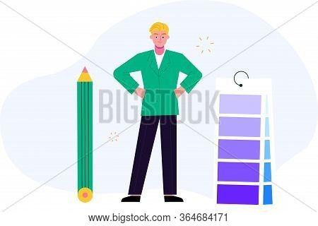 Conceptual Illustration Of An Artist Or Designer.