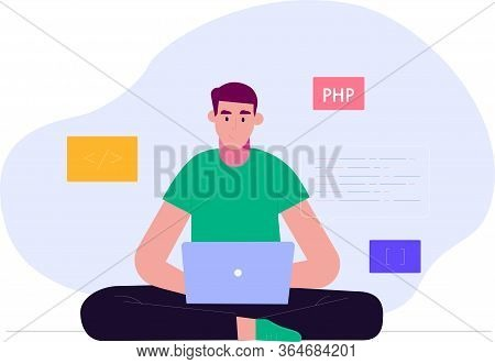 Programmer And Process Coding And Programming Concept. Vector