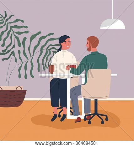 Happy Couple Drinking Coffee At Cafeteria Together Vector Flat Illustration. Colorful Man And Woman