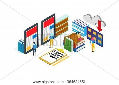 Modern Isometric Digital Library Illustration, Web Banners, Suitable For Diagrams, Infographics, Boo