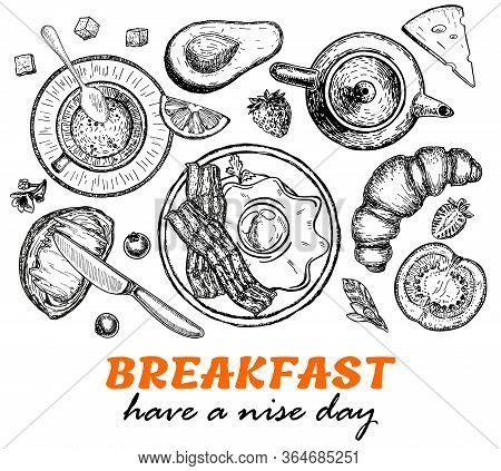 Healthy Breakfast Frame. Morning Food Menu Design. Breakfast Dishes Collection. Vintage Hand Drawn S