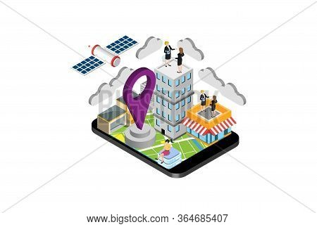 Modern Isometric Gps Application Illustration, Web Banners, Suitable For Diagrams, Infographics, Boo