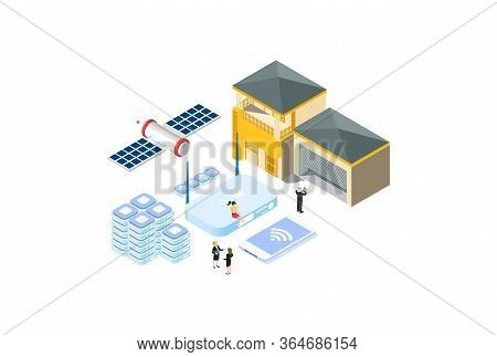 Modern Isometric Broadband Internet Provider Illustration, Web Banners, Suitable For Diagrams, Infog