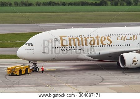 Vienna, Austria - May 5, 2019: Emirates A380 Being Pushed Back To The Taxiway At The Vienna Internat