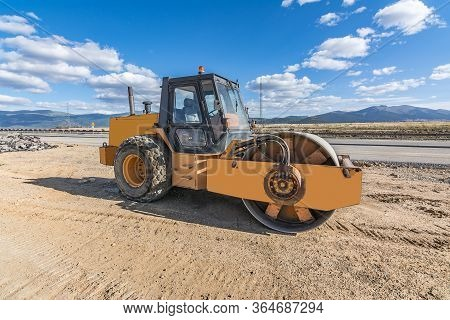 Steamroller Doing Road Construction Work In A Spain