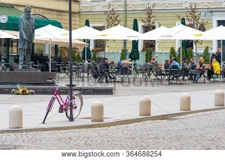 Vilnius, Lithuania - May 3 2020: Outdoor Bar And Restaurant, Vilnius, Lithuanian Capital To Be Turne