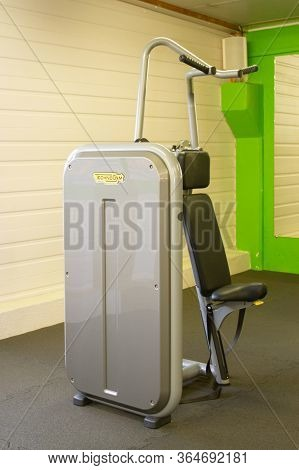 Bordeaux , Aquitaine / France - 04 16 2020 : Technogym Vertical Traction Builds Strength In Upper Bo