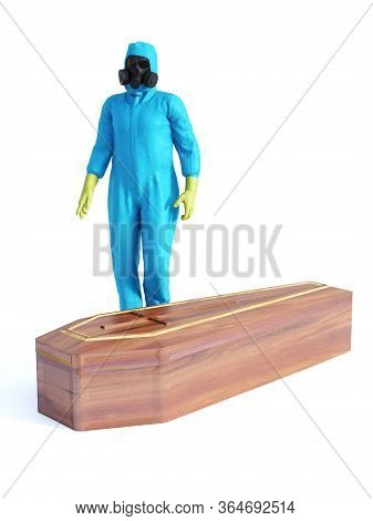 3d Rendering Of Person Wearing Blue Hazmat Suit Standing Beside A Coffin Containing A Covid-19 Victi