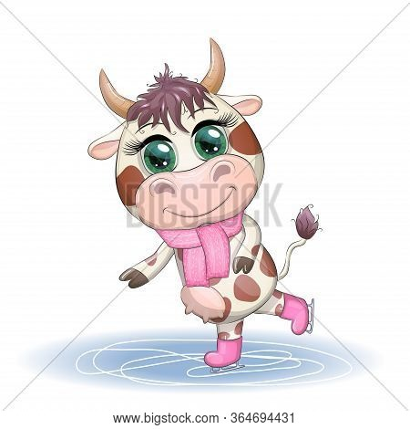 Cow On Skates Flat Vector Animal, Lovely Cow Skating, Brown Cow Making Winter Sport, Outdoor Winter