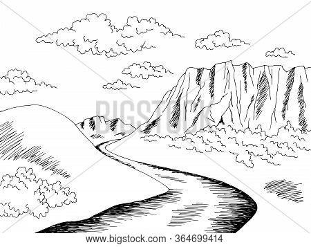 Plateau Tableland Mountain River Graphic Black White Landscape Sketch Illustration Vector