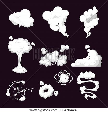 Collection Steam Cloud Patterns For Special Effects In Motion. Cartoon Set Smoke Cloud, Steam Explos