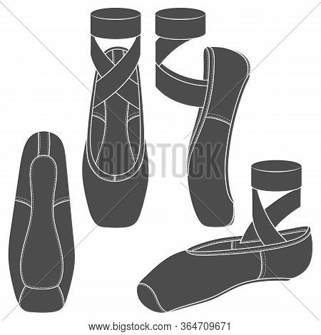 Set Of Black And White Illustrations With Pointe Shoes, Ballet Shoes. Isolated Vector Objects On A W