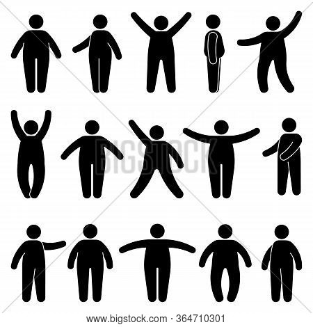 Fat Stick Figure Man Standing Front, Side View In Different Poses Vector Icon Illustration Set. Obes