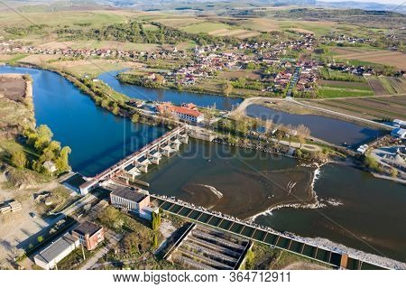 Aerial view of hydro-electric dam on Somes River in Romania