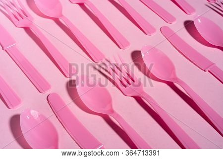 Knife Fork Spoon Plastic Ecology Pink Blue Plastic Spoons Of Pattern A Background Of Bright Pink